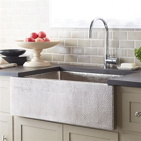 brushed nickel apron kitchen sink trails