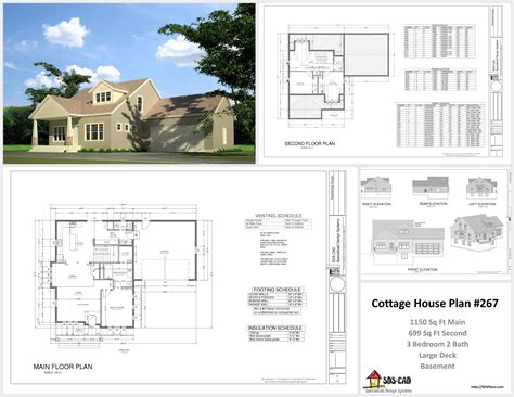 Complete House Plan by H267 Cottage House Plans In Autocad Dwg And Pdf House Plans