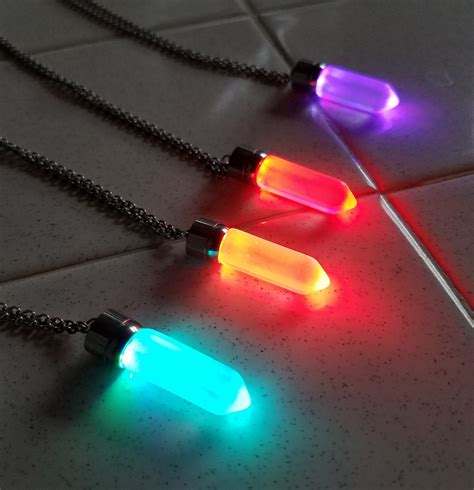 lit up led light up pendant necklace eternity led glow
