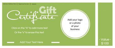 customizable gift card template gift certificate template with logo