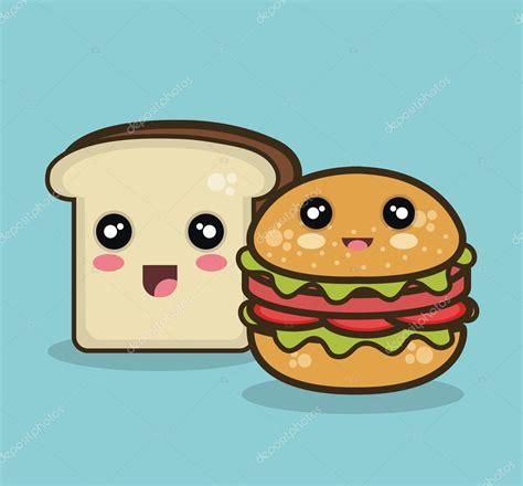 imagenes de hamburguesas kawaii kawaii gr 225 fico aislado de pan y comida r 225 pida vector de