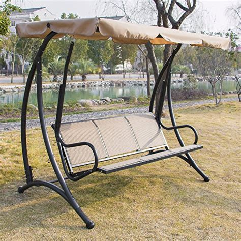 3 seat glider swing anifox outdoor 3 person canopy swing glider hammock chair