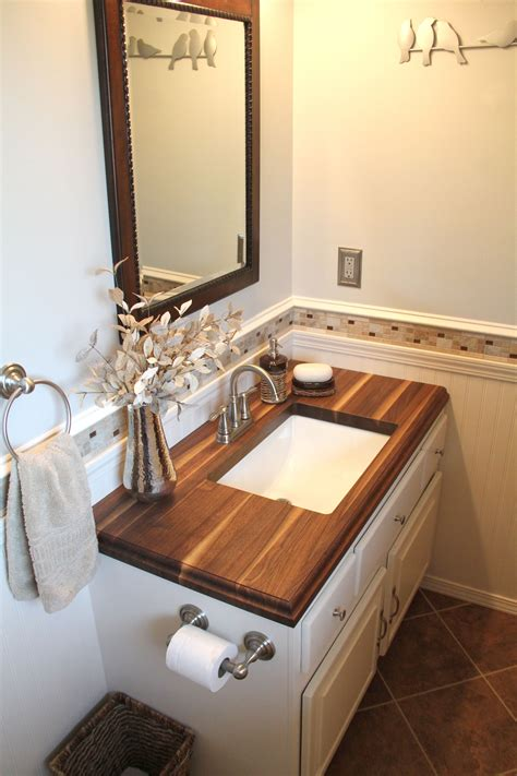 small bathroom  walnut wood countertop www