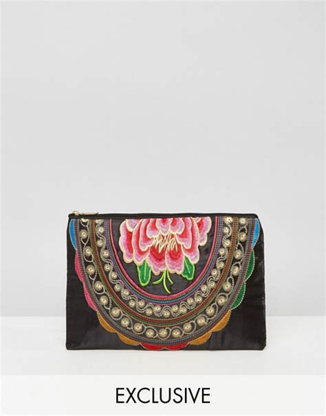 Asos Vintage Style Scarf Clutch by Reclaimed Vintage Reclaimed Vintage Flower Embroidered