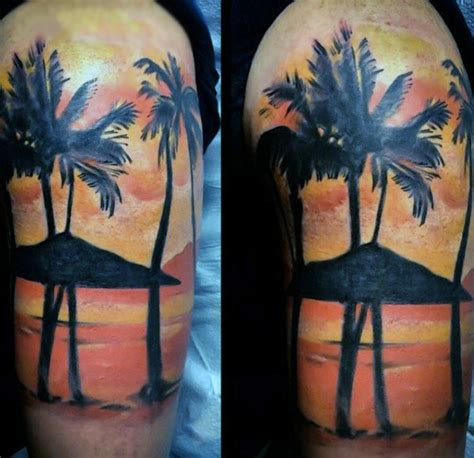 tropical tattoos for men 100 palm tree tattoos for tropical design ideas
