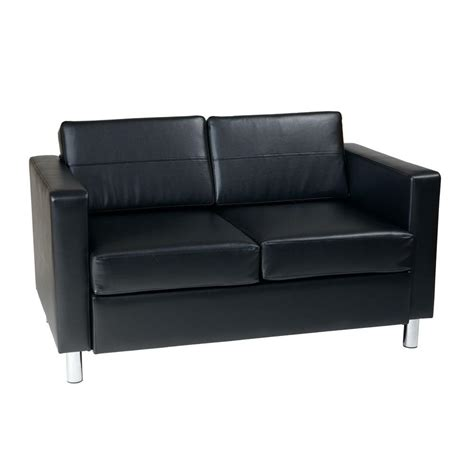 Ave Six Pacific Black Vinyl Loveseat Pac52 V18 The Home