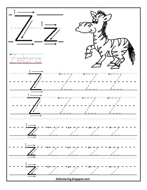 Free Printable Worksheet Letter Z For Your Child To Learn Free Printing Coloring Pages L