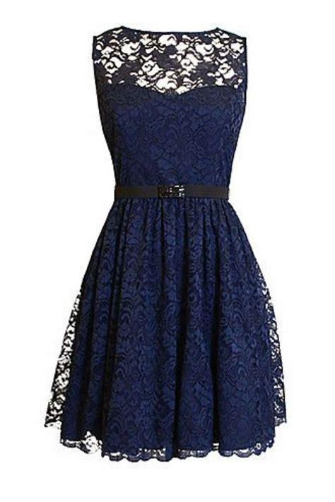 Blue Mix Lace Shirt Dress custom navy lace bridesmaid dress navy blue scoop