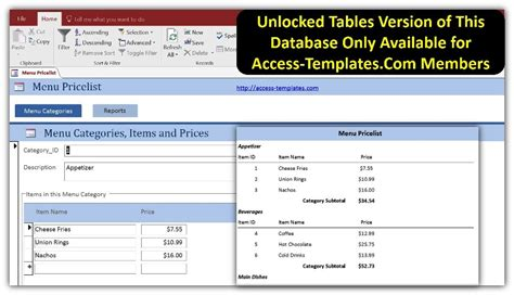 restaurant menu price list in access templates database