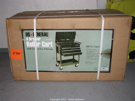 us general 4 drawer tool cart west auctions auction machine shop tools and equipment