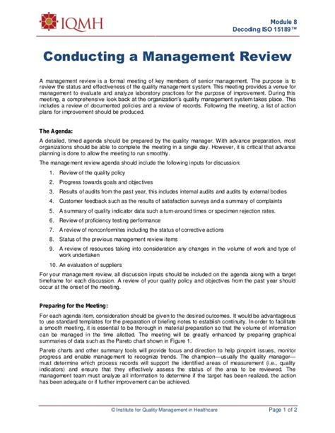 management review template conducting management review1