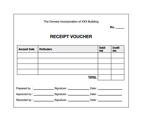 Payment Receipt Voucher Template Excel by 9 Sle Receipt Voucher Templates To Sle