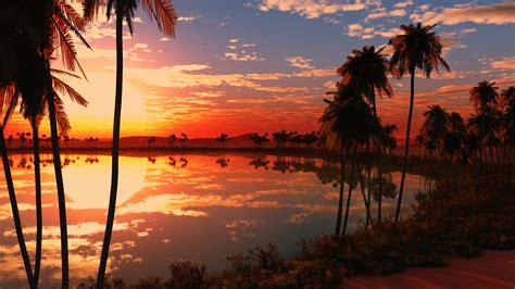 wallpaper lake tress sunset reflections nature