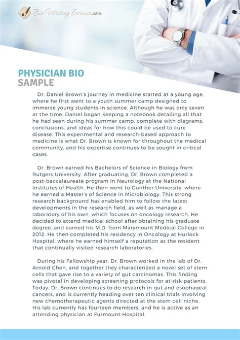 How To Write A Physician Bio Like Pro Bio Writing Service Physician Bio Template