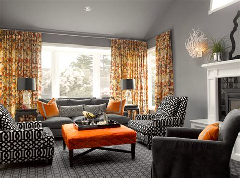 Orange Grey Living Room by Orange And Gray Curtains Living Room