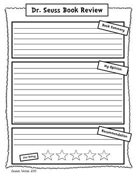 dr seuss book report dr seuss book review and opinion writing freebie by