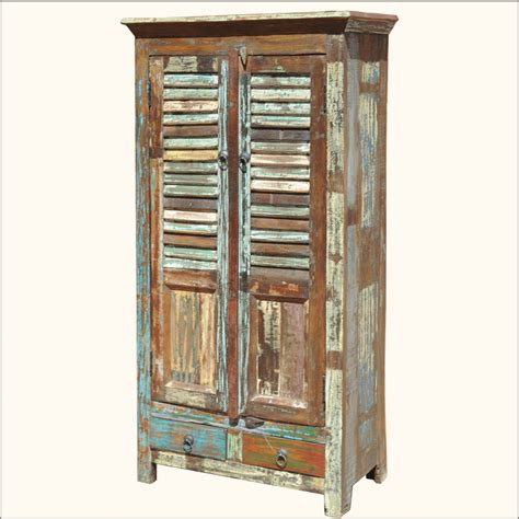 shutter armoire distressed rustic old reclaimed wood shutter door storage