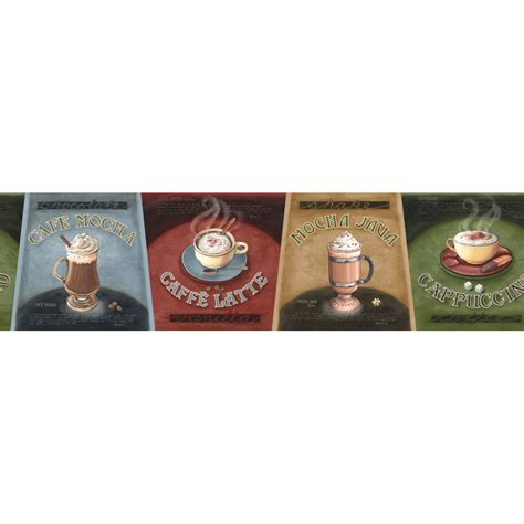 coffee shop wallpaper borders shop imperial 6 3 8 quot specialty coffee prepasted wallpaper