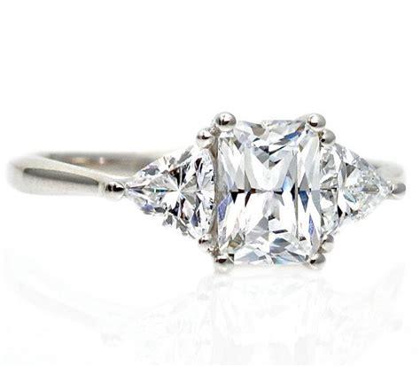 moissanite 3 engagement ring radiant trillion 14k