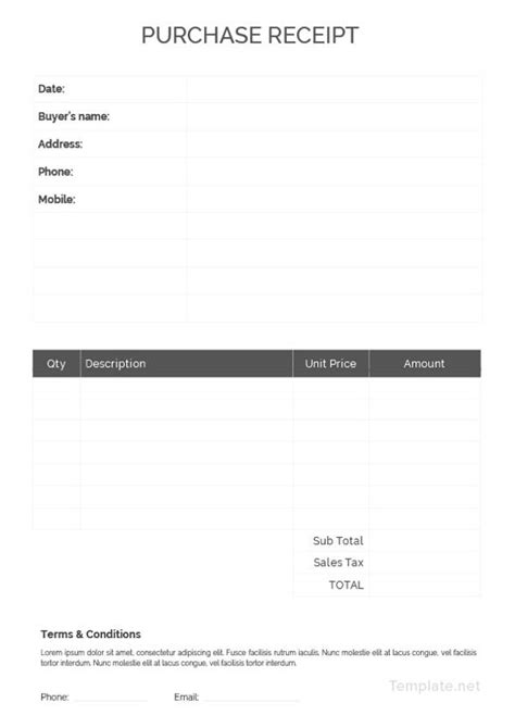 Purchase Receipt Template by 8 Purchase Receipt Templates Free Premium Templates