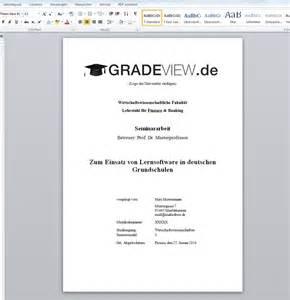 Vorlage Word Hausarbeit Vorlage F 252 R Das Deckblatt Einer Seminararbeit Zum