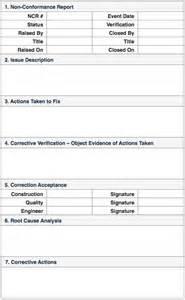 Non Conformance Report Form Template non conformance reports quality control