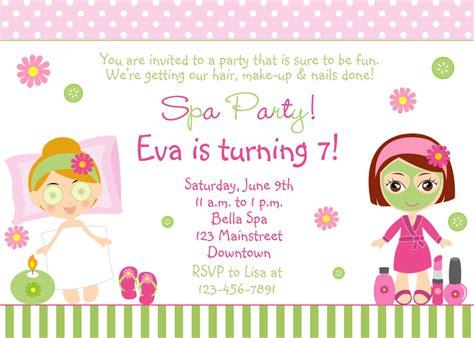 printable birthday invitations girl free spa party invitations printables girls invitetown