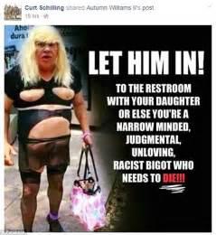Transvestite Meme - curt schilling fired by espn for anti transgender meme on