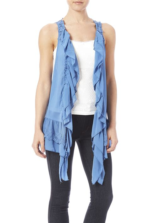 Ruffle Vest umgee usa ruffle lace vest from canada by real spirit