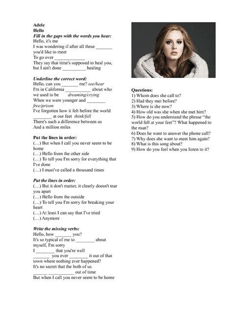 Printable Lyrics Hello Adele | song worksheet hello by adele