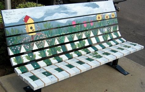 bench freeport freeport illinois 2006 robert bike licensed massage therapy painted benches treenovation