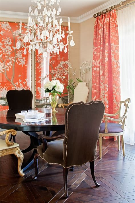Formal Dining Room Curtains Inspiration Inspired Coral Design Fabric Fashion Traditional Dining Room Inspiration With Asian