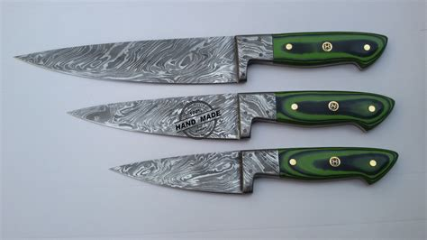 damascus steel kitchen knives lot of 3 pcs damascus kitchen chef s knife custom handmade