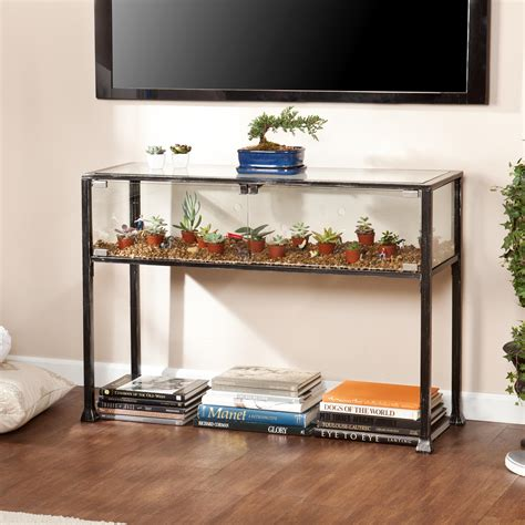 Under Kitchen Cabinet Tv by Deluxe Arched Glass Sofa Table With Shelf And Brown Iron