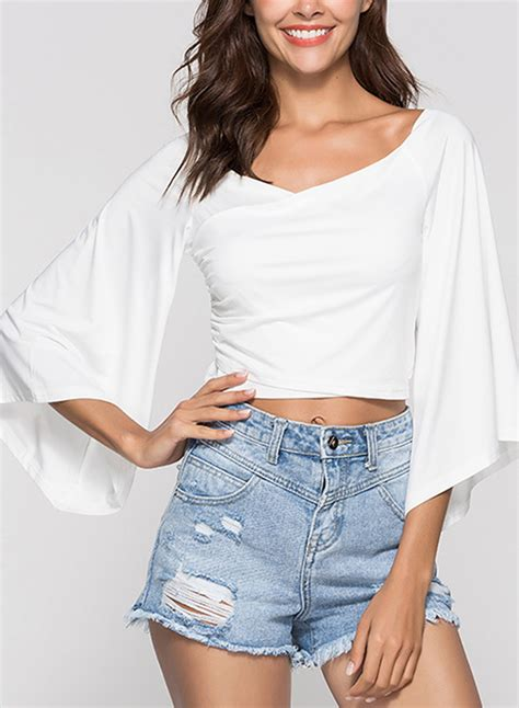 Shoulder Sleeve Crop Top white shoulder flare sleeve crop top
