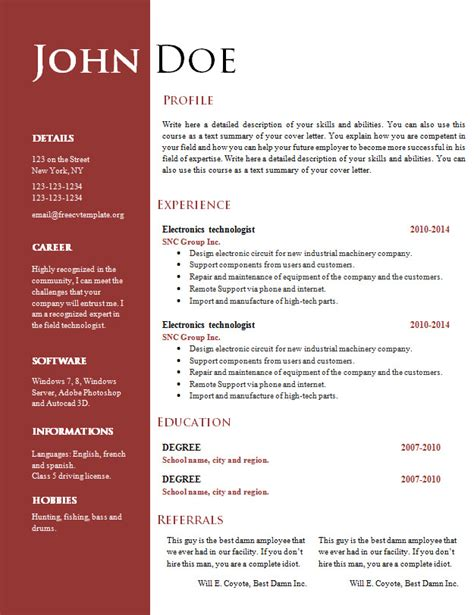 Doc Resume Templates by Free Creative Resume Cv Template 547 To 553 Free Cv Template Dot Org
