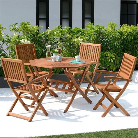 Patio Table And Chairs 4 Seater Garden Furniture Set Wooden Outdoor Folding Patio