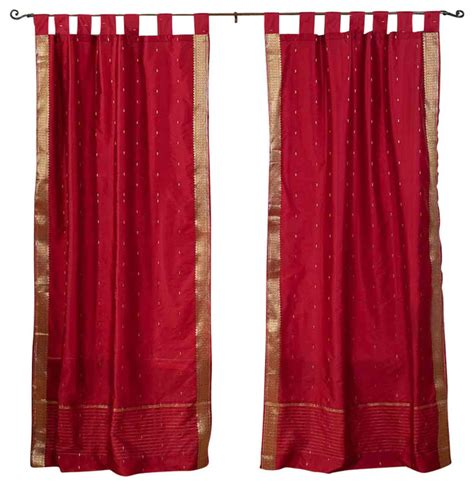 maroon sheer curtains shop houzz indian selections maroon tab top sheer sari