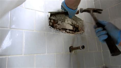 replace bathroom tile tub and shower valve replaced in tile wall youtube