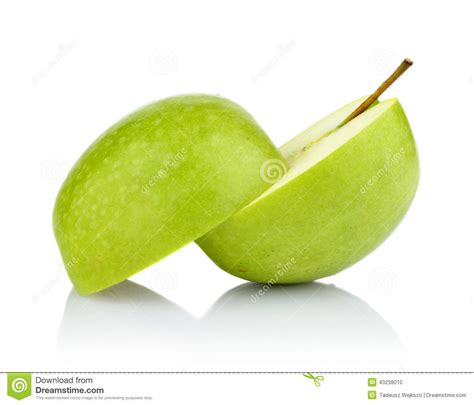 studio shot of green apple cut in half isolated stock photo image 43238010