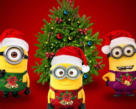 wallpaper minions santa claus santa hat xmas tree hd celebrations christmas