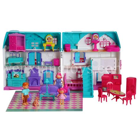 plastic doll house plastic mini girls toy doll house furniture kits for