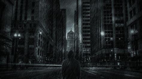 wallpaper dark rain buildings skyscrapers hoodie rain storm mood dark