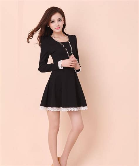 Sleeve Lace Trim A Line Dress sleeve lace trim a line dress ringnor yesstyle
