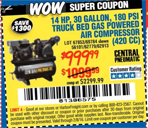 truck bed air compressor harbor freight tools coupon database free coupons 25 percent off coupons 20