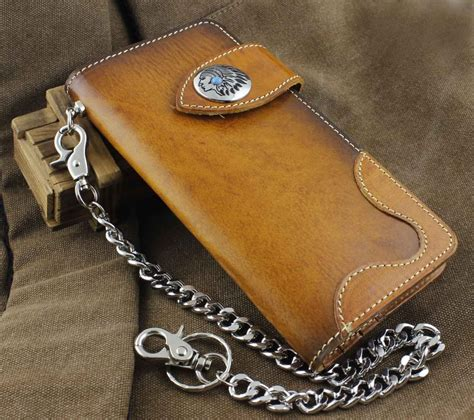 Handmade Leather Biker Wallets - handmade genuine leather biker hip hop s wallet w