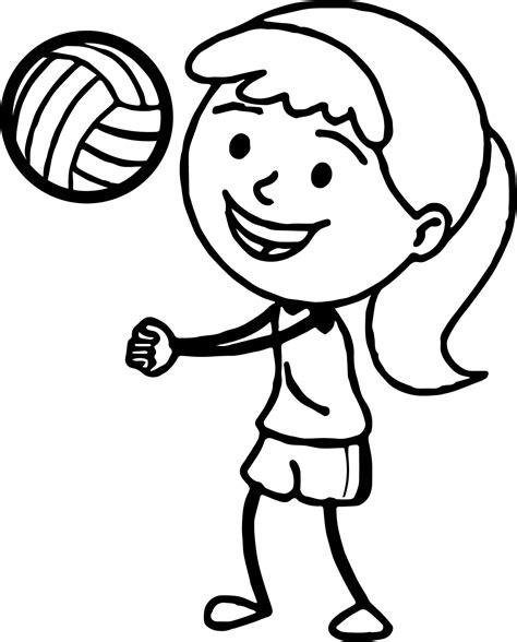 coloring pages volleyball girl girl playing volleyball bump pass coloring page