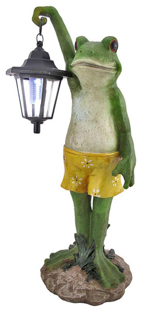 Solar Frog Trio Garden Decor Outdoor Frog With Lantern Solar Light Garden Accent Traditional Outdoor Decor By Zeckos