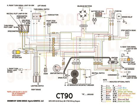 1970 1974 k2 k5 early k6 ct90 stock wiring diagram honda