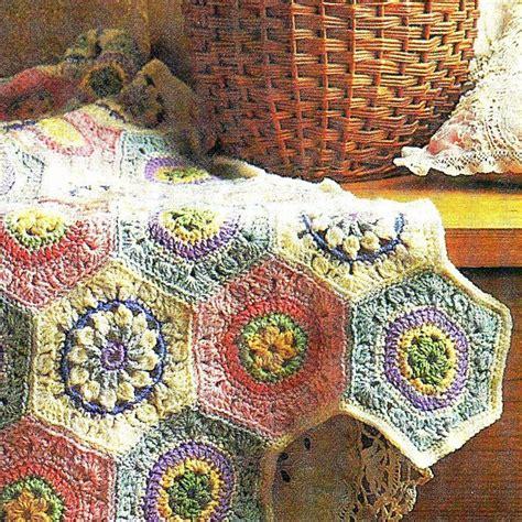vintage afghan pattern 3 vintage hexagon crochet square flower motifs granny